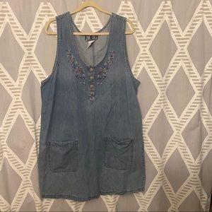 Vintage Denim Jumper Dress Embroidered